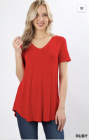 Short Sleeve V Neck Round Hem Ruby PS Top -  Plus Size