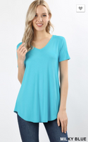 Short Sleeve V Neck Round Hem Light Blue PS Top -  Plus Size