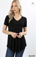 Short Sleeve V Neck Round Hem Black PS Top -  Plus Size