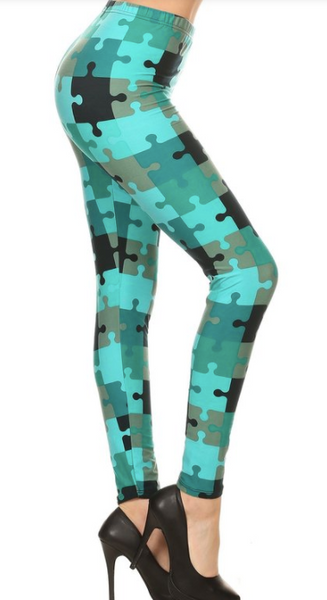 Puzzle Piece Teal OS Legging