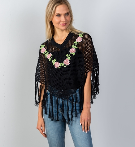 Crochet Poncho - Black and Pink