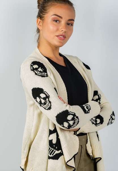 Skull Cream and Black Cardigan