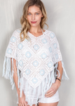 Crochet Poncho - Blue and White