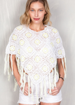 Crochet Poncho - Yellow and White