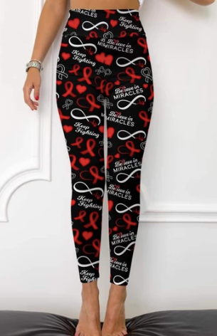 Custom Red Ribbon OS Legging