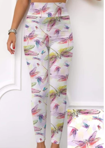 Custom Watercolor Dragonfly EPS Legging