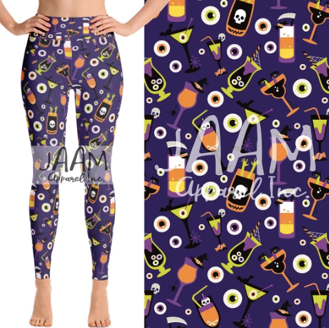 Custom Spooky Drinks PS Legging - Yoga Band
