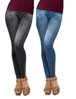 Genie Blue or Black Jean Legging With Back Pockets