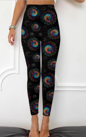 Custom Tie Dye Flowers Capri Legging EPS