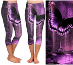Custom Purple Butterfly Capri Legging EPS