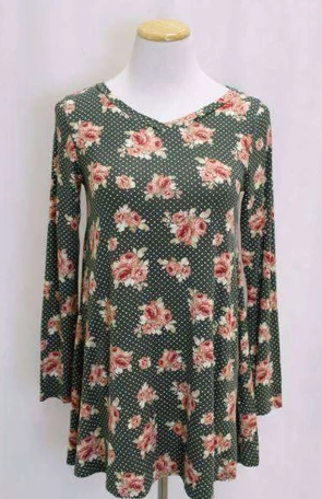 Green Floral Tunic Top