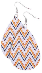 Chevron Faux Leather Teardrop Earring