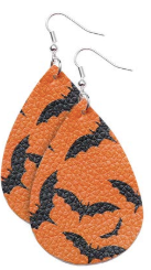 Bats Faux Leather Teardrop Earring