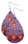 Pumpkins and Bats Faux Leather Teardrop Earring