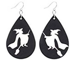Witch Faux Leather Teardrop Earring