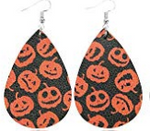 Jack O Lanterns Faux Leather Teardrop Earring