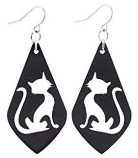 Cat Faux Leather Teardrop Earring
