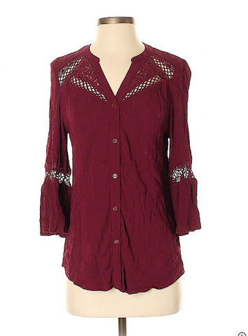 Burgundy Bell Sleeve Top - PS