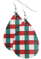 Red and Green Plaid Teardrop Earring