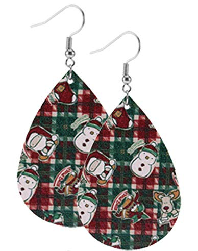 Plaid With Characters Teardrop Earring