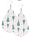 Tree With White & Red Teardrop Earring