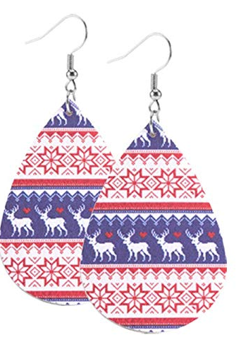 Moose and Snowflake Teardrop Earring