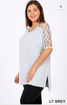 Gray Lattice Sleeve Tunic Top (2x)