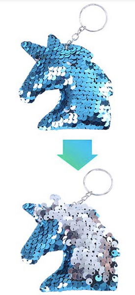 Sequin Keychain - Unicorn Two Toned Blue