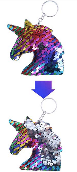 Sequin Keychain - Unicorn Two Toned Rainbow