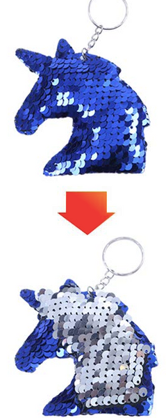Sequin Keychain - Unicorn Two Toned Royal