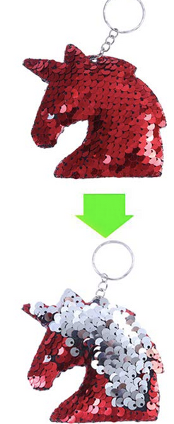 Sequin Keychain - Unicorn Two Toned Red