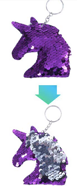 Sequin Keychain - Unicorn Two Toned Purple