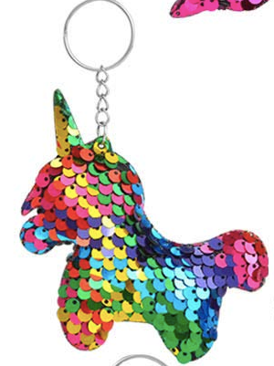 Sequin Keychain - Rainbow Full Unicorn