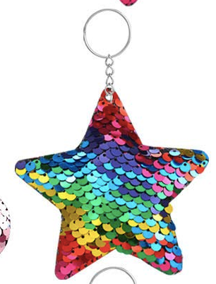 Sequin Keychain - Rainbow Star