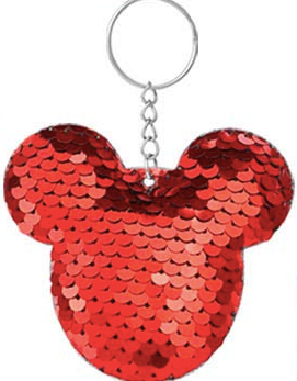 Sequin Keychain - Red Mouse Head