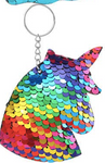 Sequin Keychain - Rainbow Unicorn Looking Down