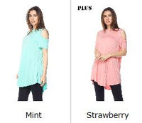 Mint Cold Shoulder Short Sleeve PS Top -  Plus Size