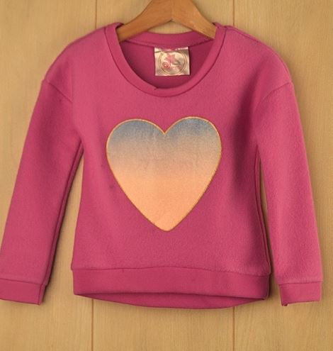 Girls Heart Fleece Top - Pink