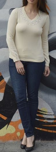 V-Neck Sweater - Beige