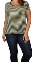 Olive Stripped Curvy Top