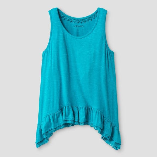 Girls Scoop Neck Lace Trimmed Top