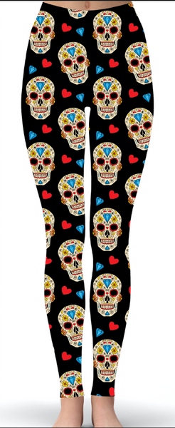 Love Skulls Print Leggings