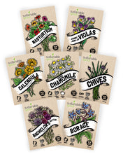 Edible Flower Seeds Variety Pack - 100% Non GMO – Nasturtium, Viola, Calendula, Chamomile, Chives, Bachelor Button, Calendula, Borage for Planting in Your Edible Blooms Culinary Garden