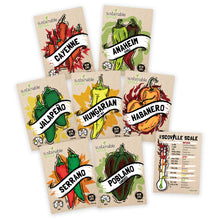 Hot Pepper Seeds Variety Pack - 100% Non GMO – Habanero, Jalapeno, Cayenne, Anaheim, Hungarian Hot Wax, Serrano, Poblano. Heirloom Chili Pepper Seeds for Planting in Your Organic Garden