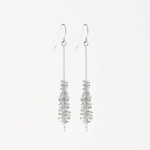 Sterling Silver Earrings with Elongated Faceted Beads