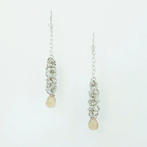 Maette Design Sterling Silver Cascade Earring with Champagne Quartz