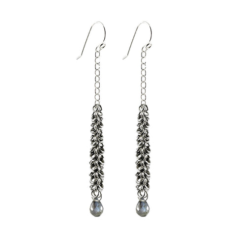 Maette Design Sterling Silver Cascade Earring with Faceted Stone Drop