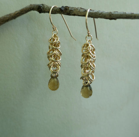 Maette Design 14K Goldfill Cascade Earring with Champagne Quartz