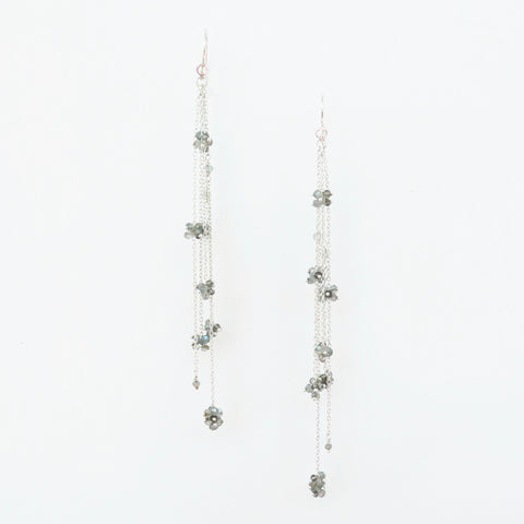 Maette Design Cluster Sterling Silver Fringe Earrings with Labradorite