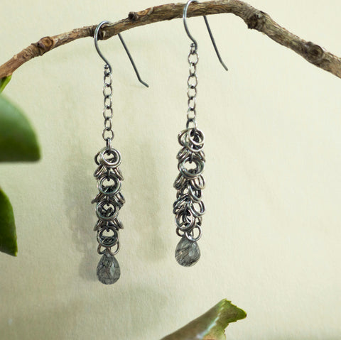 Maette Design Oxidized Sterling Silver Cascade Earring with a Faceted Stone Drop